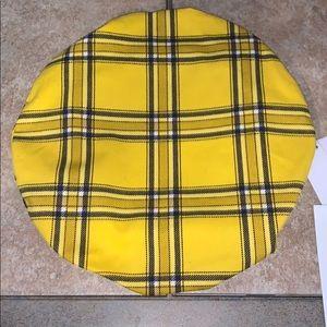 Guess Yellow & Black Plaid Beret Hat
